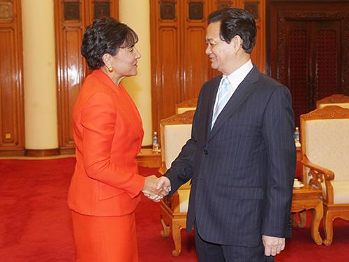 Thủ tướng Nguyễn Tấn Dũng đón tiếp Bộ trưởng Bộ Thương mại Mỹ Penny Pritzker  Ảnh: TTXVN