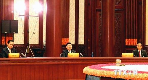 Chủ tịch nước Trương Tấn Sang tại Hội nghị các nhà lãnh đạo Diễn đàn Hợp tác kinh tế châu Á - Thái Bình Dương lần thứ 22 Ảnh: TTXVN