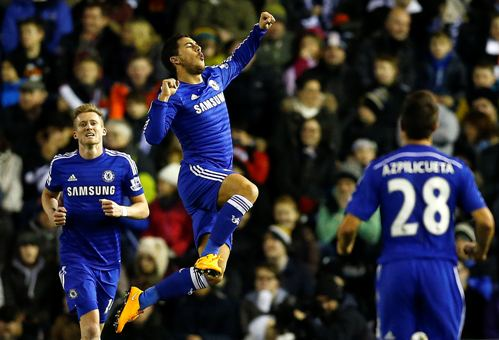 Hazard sau pha ghi bàn mở tỉ số cho Chelsea