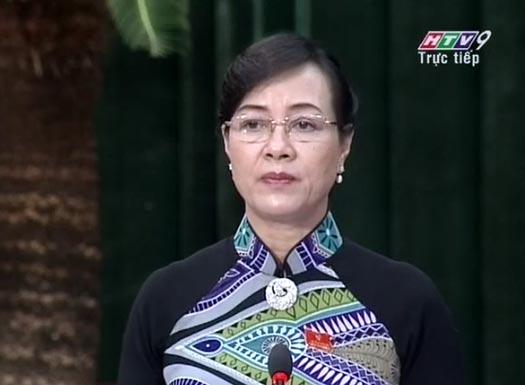 Bà Nguyễn Thị Quyết Tâm, Chủ tịch HĐND TP HCM trong buổi chất vấn Giám đốc Sở GTVT, sáng 11-12