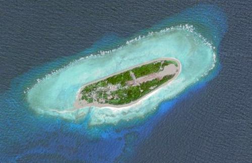 Đảo Ba Bình của Việt Nam nhìn từ vệ tinh. Ảnh: Google Maps