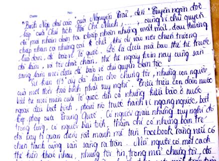 Bài viết của học sinh Hoàng Linh Phương về sự kiện Trung Quốc đặt trái phép giàn khoan Hải Dương 981