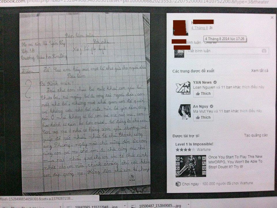 Bài làm văn gốc mà tác giả P.T.H. nhờ con gái học lớp 5 chép lại để đăng lên facebook nhằm câu like
