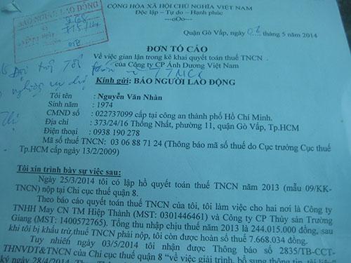 Đơn khiếu nại của ông Nguyễn Văn Nhàn về việc bỗng dưng bị kê khai thuế thu nhập