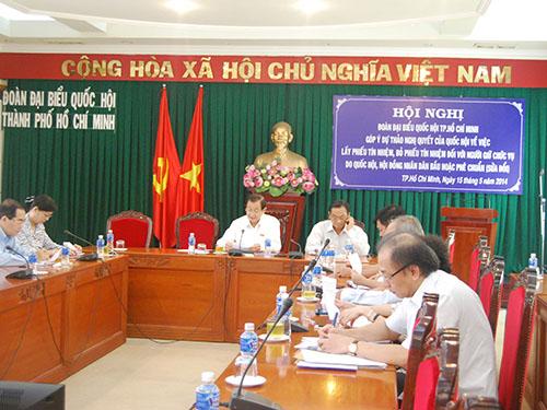 Đoàn Đại biểu Quốc hội TP HCM góp ý dự thảo nghị quyết của Quốc hội về việc lấy phiếu tín nhiệm, bỏ phiếu tín nhiệm