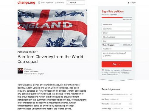 Trang web đăng bản kiến nghị và chữ ký của CĐV Anh
