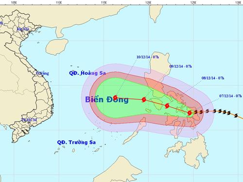 Vị trí và hướng dự chuyển của siêu bão Hagupit - Nguồn: Trung tâm dự báo khí tượng thủy văn TƯ