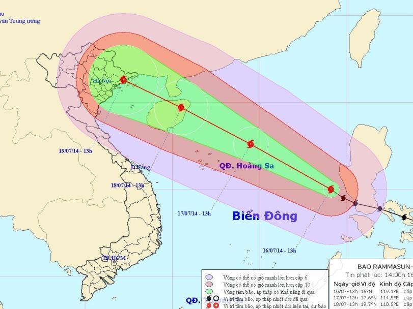 Vị trí và hướng di chuyển của bão Rammasun (Thần Sấm) - Nguồn: Trung tâm Khí tượng thủy văn TƯ