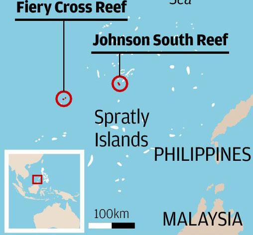 Bãi đá Chữ Thập (Fiery Cross) và bãi Gạc Ma (Johnson) đều nằm trong mưu đồ mới của Trung Quốc.  Nguồn: SCMP