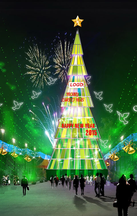 Hình ảnh phác thảo của cây thông Noel sau khi hoàn thành