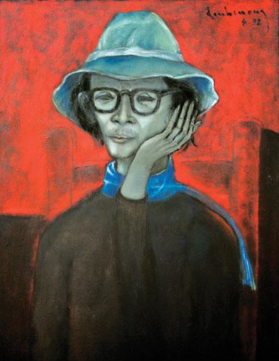 Chân dung nhạc sĩ Trịnh Công Sơn qua nét vẽ của họa sĩ Đinh Cường, trưng bày tại Gác Trịnh