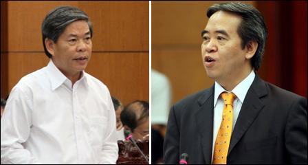 Bộ trưởng Nguyễn Minh Quang (trái) và Thống đốc Nguyễn Văn Bình sẽ trả lời chất vấn của đại biểu Quốc hội