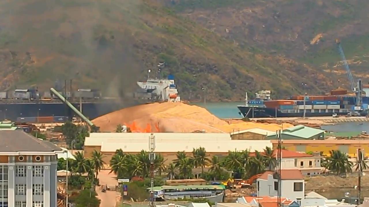 Đám cháy tại Cảng Quy Nhơn xuất phát từ bãi chứa gỗ đang chờ xuất lên tàu đi nước ngoài
