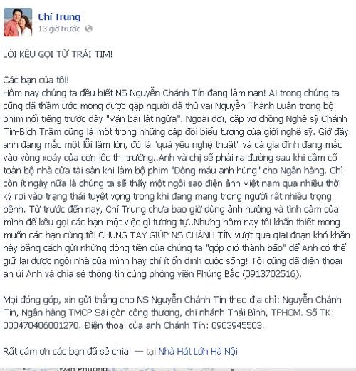 Lời kêu gọi của nghệ sĩ Chí Trung trên Facebook.
