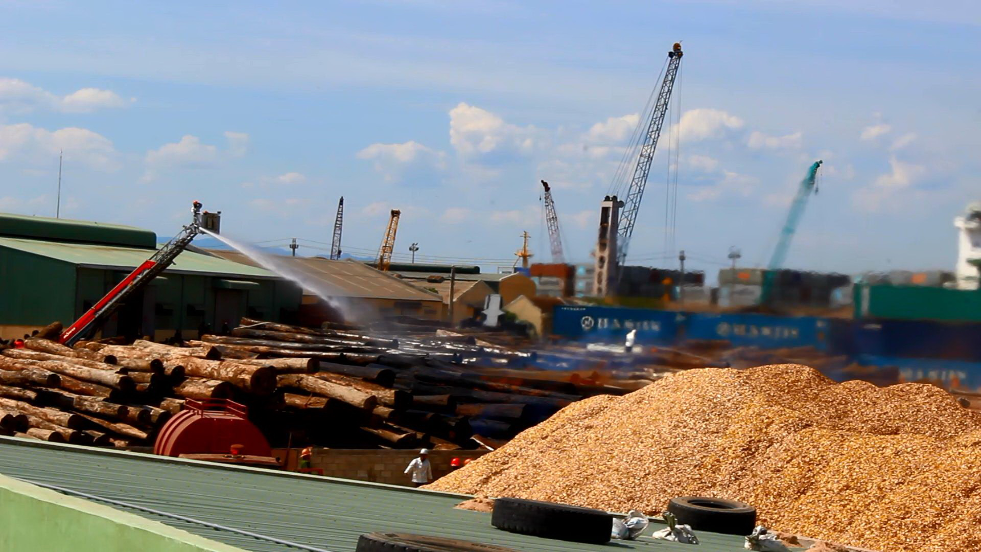 Hơn 4 giờ chữa cháy, cảng Quy Nhơn ngưng hoạt động