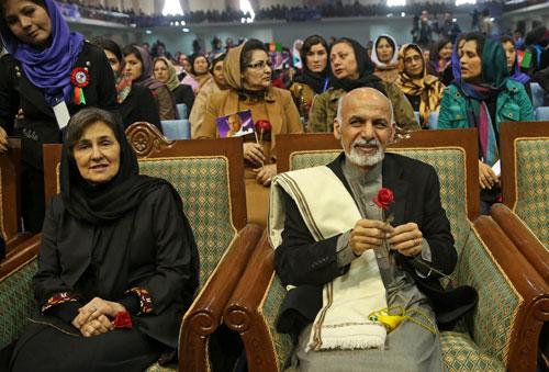 Vợ chồng Tổng thống Afghanistan Ashraf Ghani. Ảnh: AP