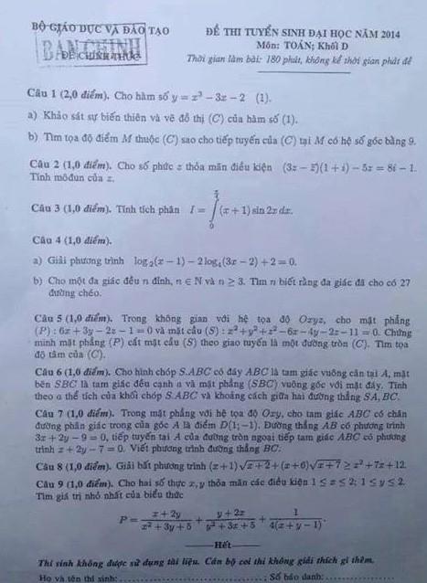 Đề toán khối D