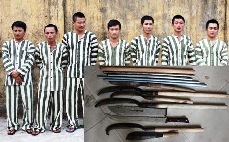 Nhóm đối tượng bị bắt giữ liên quan đến vụ chém người đứt lìa tay.