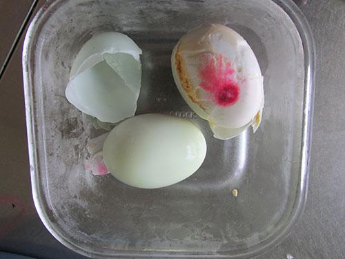 Hai quả trứng có màu đỏ bất thường đang được gia đình bà Vân cất giữ trong tủ lạnh