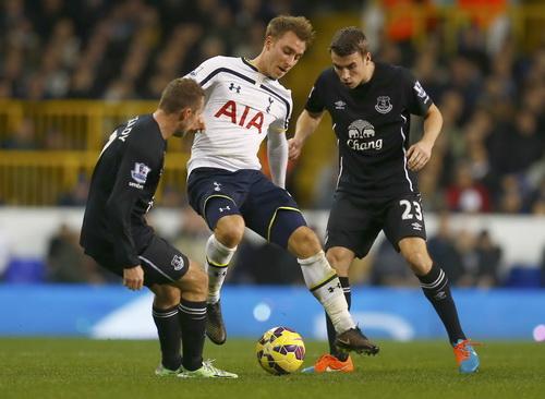Christian Eriksen (giữa) ghi bàn cho Tottenham