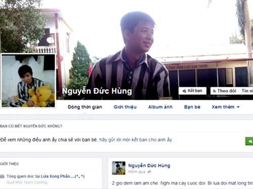 Facebook đề tên Nguyễn Đức Hùng trong trang phục của phạm nhân