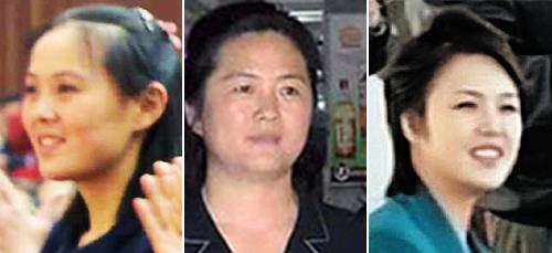 Từ trái qua, em gái, chị gái và vợ Kim Jong-un Kim Yeo-jong, Kim Sul-song và cô Ri Sol-ju. Ảnh: Chosun Ilbo