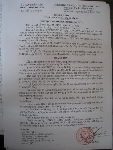 Quyết định giáng chức ông Nguyễn Hữu Tuấn