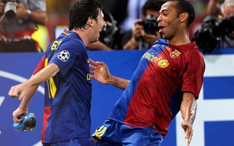Henry và Messi trong màu áo CLB Barcelona