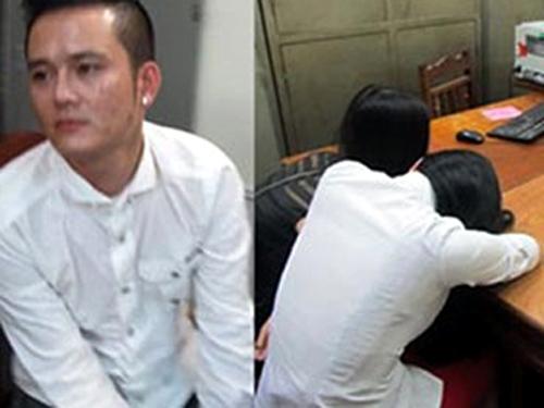 Nguyễn Văn Hoàng (tức Hoàng mẫu, trái) và 2 gái bán dâm bị bắt quả tang sau khi bị bắt giữ tại cơ quan công an