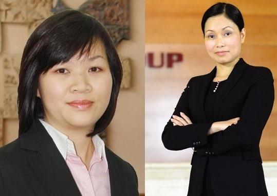 Bà Lê Thị Thu Thủy (phải) và người kế nhiệm tổng giám đốc Vingroup Dương Thị Mai Hoa