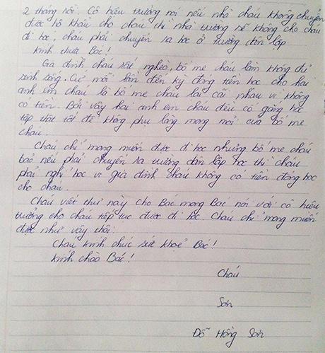 Xúc động thư học trò nghèo gửi Chủ tịch nước