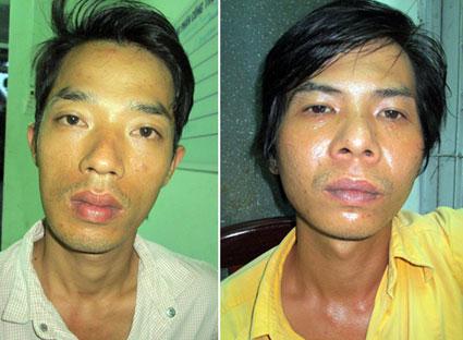 Khanh (trái) và Công bị công an bắt giữ về hành vi cướp giật tài sản.