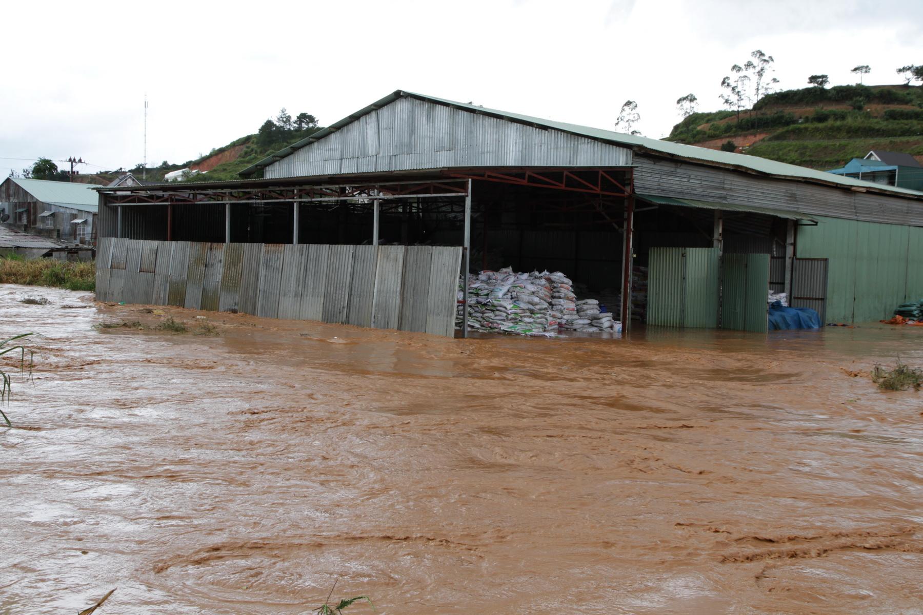 Mưa lớn gây ngập 2 kho phân lớn của nông dân