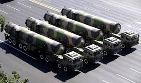 DF-31A mobile launchers on display in a 2009 military parade in Beijing. (Internet photo)