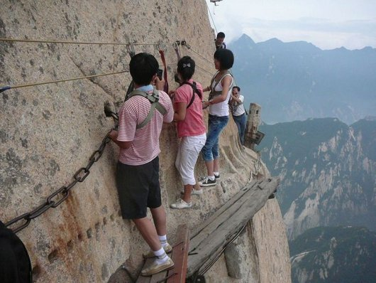 scary, wtf, travel, hiking, adventure, awesome, cool, The Most Dangerous Hiking Trail in the World - Huashan Trail in China
