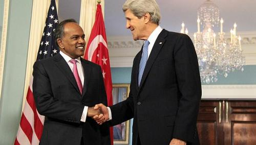 Minister for Foreign Affairs and Minister for Law K. Shanmugam meets United States Secretary of State John Kerry on March 13. -- PHOTO: Ministry of Foreign Affairs, Singapore.