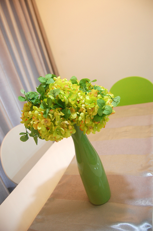 Những chậu hoa nhỏ đa dạng về kiểu dáng được chủ căn hộ tỉ mỉ chọn lựa.