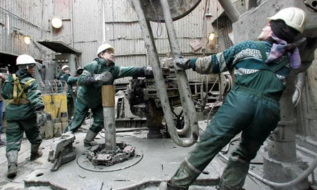 Rosneft staff work at the Yuganskneftegaz oil production station near Nefteyugansk