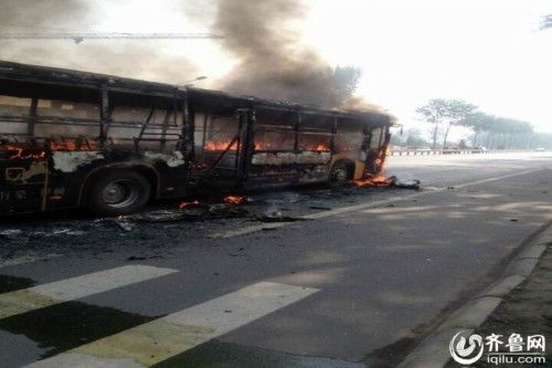 One was killed and 19 others injured after a public bus caught fire during rush hour in east Chinas Shandong Province on Wednesday
