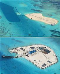 上は2月、下は7月29日撮影のジョンソン南礁。7月の写真では、中央にコンテナ型宿泊施設や数列のヤシの木、左側には桟橋が見える (フィリピン政府当局者提供)
