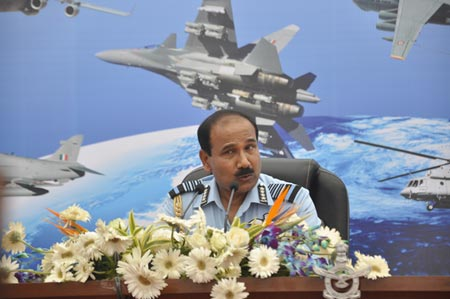 Indias Air Chief marshal Arup Raha addressing a press conference during the 82nd Air Force Day function at Hindon air force station on October 8, 2014 in Ghaziabad, India. (File photo/ CFP)
