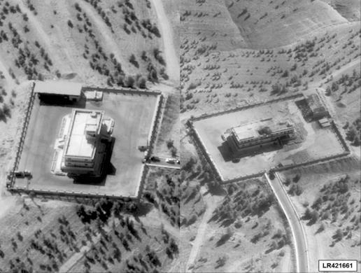 Một trung tâm chỉ huy của IS ở Syria trước (trái) và sau khi trúng bom từ chiến đấu cơ tàng hình F-22. Ảnh: REUTERS