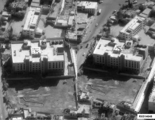 Bộ Quốc phòng Mỹ tuyên bố đây là một trung tâm tài chính của IS ở Syria trước (trái) và sau khi bị tên lửa Tomahawk bắn trúng (phải). Ảnh: REUTERS