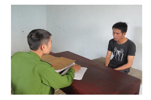 Phạm Quang Hai khai nhận tại cơ quan công an. Ảnh do công an cung cấp
