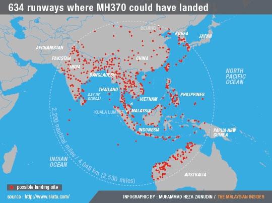 634 đường băng mà MH370 có thể hạ cánh