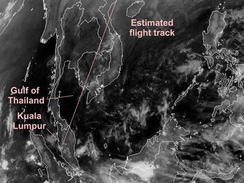 Ảnh vệ tinh VISSR cho thấy đường bay dự kiến của chiếc máy bay mất tích. Nguồn: Avherald