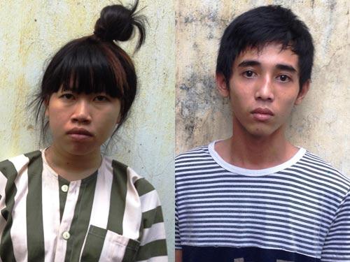 Huỳnh Thị Bích Vân và Lê Minh Hiếu tại cơ quan công an