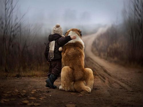 """Bộ ảnh tuyệt đẹp mẹ chụp bé """"tâm sự"""" với thú cưng"""