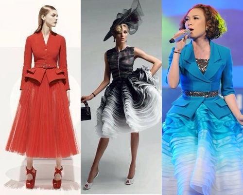 Những bộ đầm được cho là lắp ghép từ nhãn hiệu Dior. Ảnh: Internet