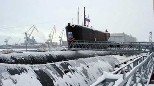 Tàu ngầm hạt nhân chiến lược lớp Borey mang tên Yury Dolgoruky Ảnh: RIA NOVOSTI